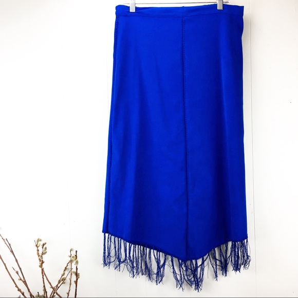 Vintage Dresses & Skirts - Vintage 90s Royal Blue Fringe Skirt